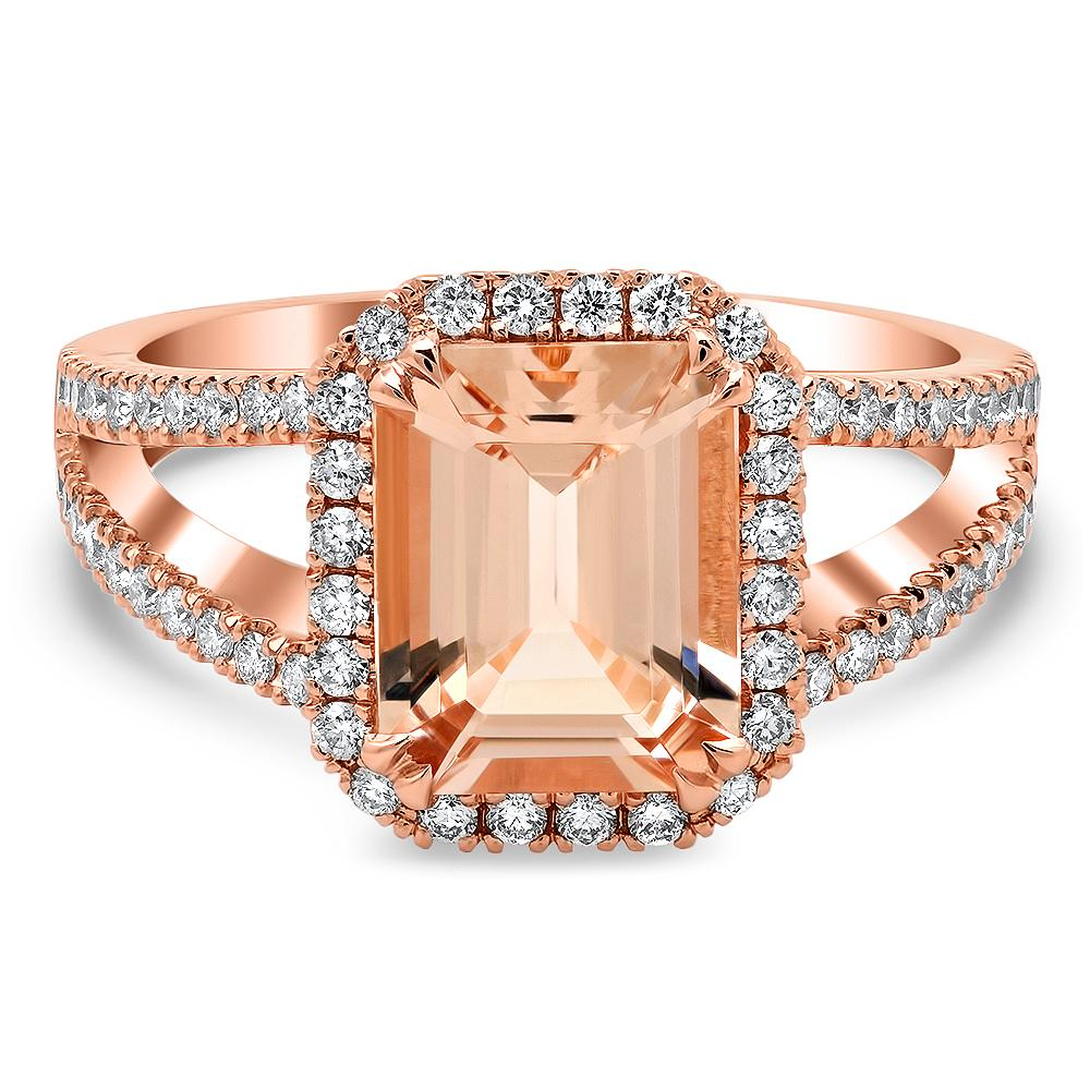 Rose Gold Split Shank Emerald Morganite Halo Engagement Ring Rose Gold & Morganite Engagement Rings deBebians