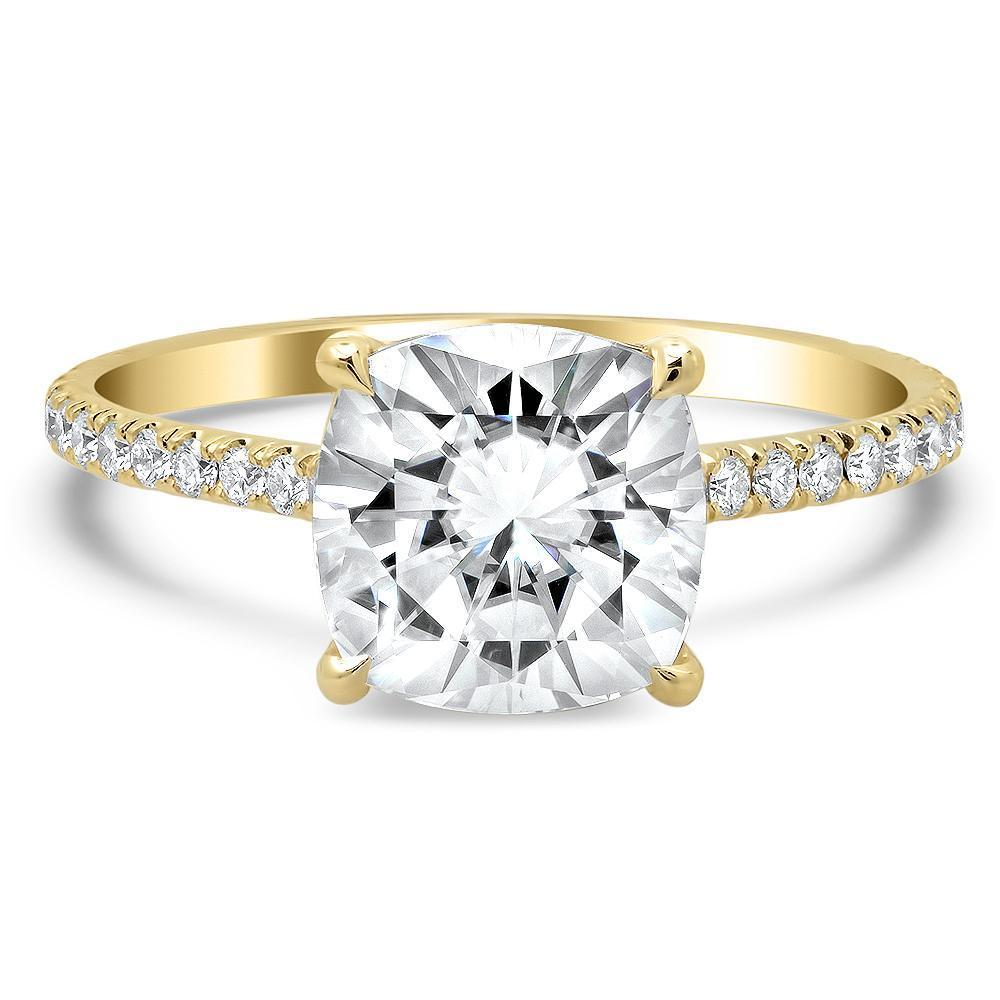 Cushion Cut Forever One Moissanite Pave Engagement Ring Moissanite Engagement Rings deBebians