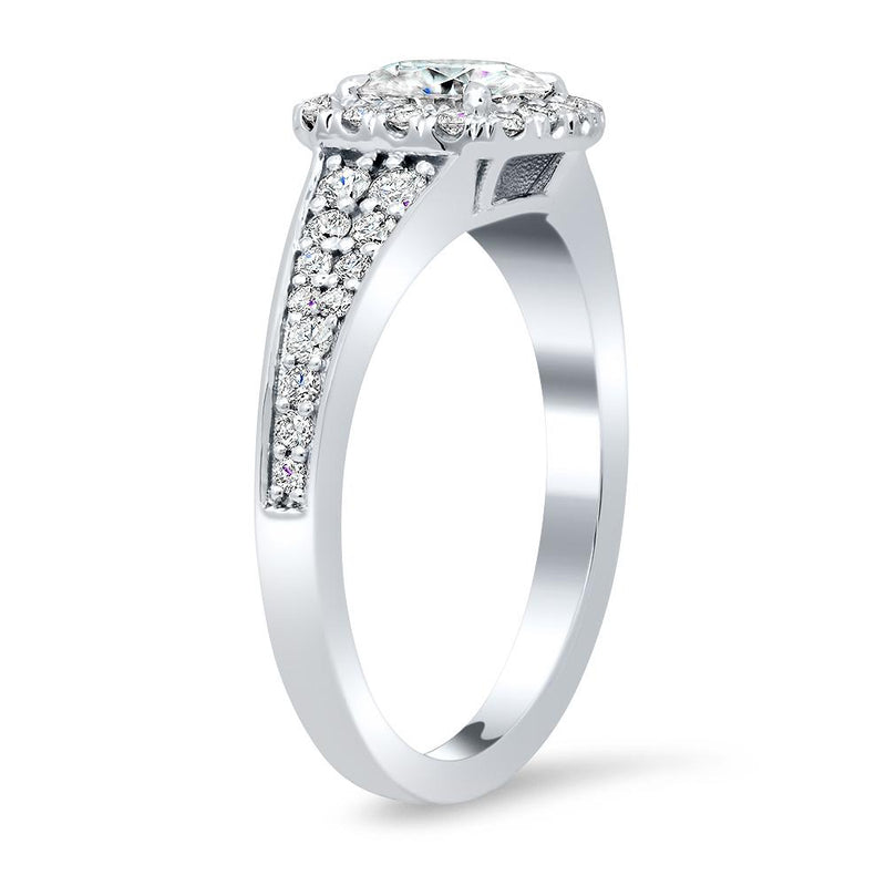 Halo Engagement Ring with Tapered Pave Band Halo Engagement Rings deBebians