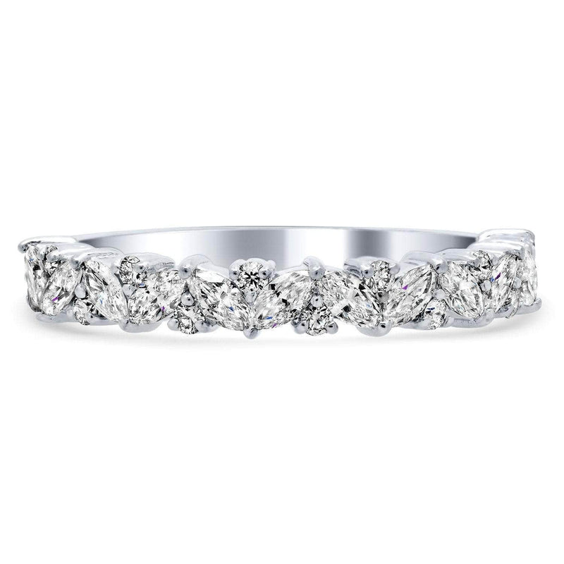 Half Eternity Marquise and Round Laurel Diamond Ring Diamond Wedding Rings deBebians