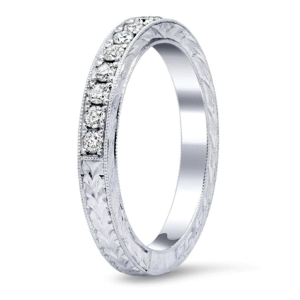 Diamond Wedding Ring with Milgrain and Hand Engraving Half Eternity Rings deBebians