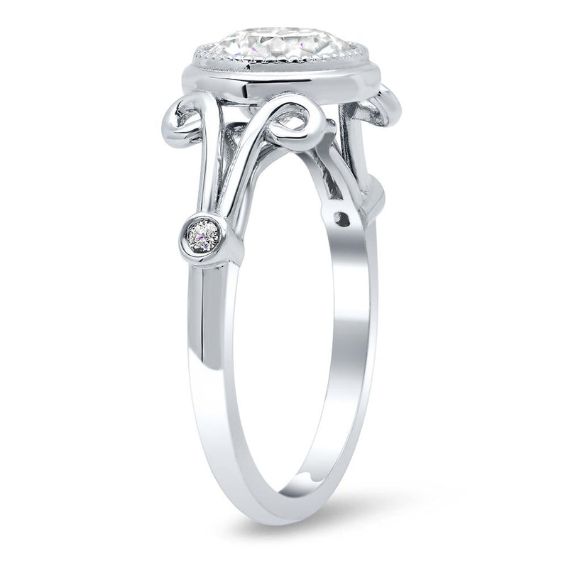 Swirl Split Shank Bezel Set Diamond Accented Engagement Ring Diamond Accented Engagement Rings deBebians