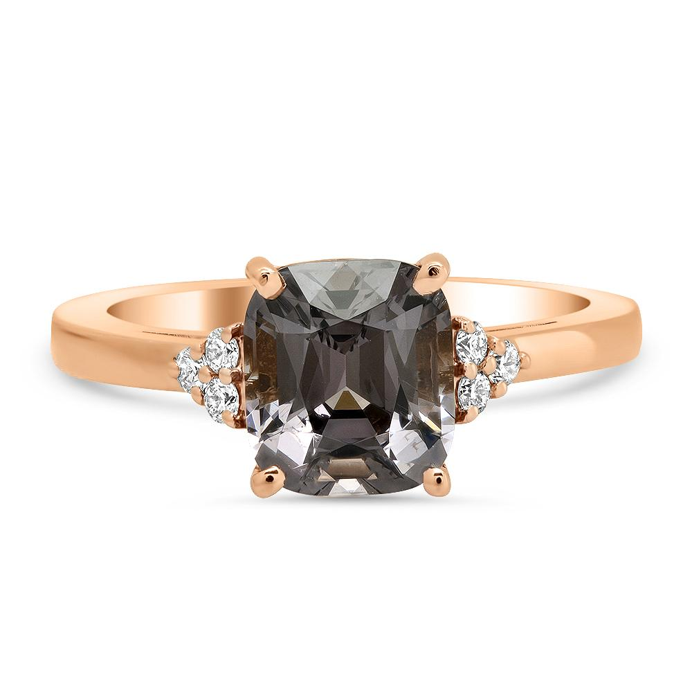 Grey Spinel and Diamond Ring in 14kt Rose Gold Ready-To-Ship deBebians