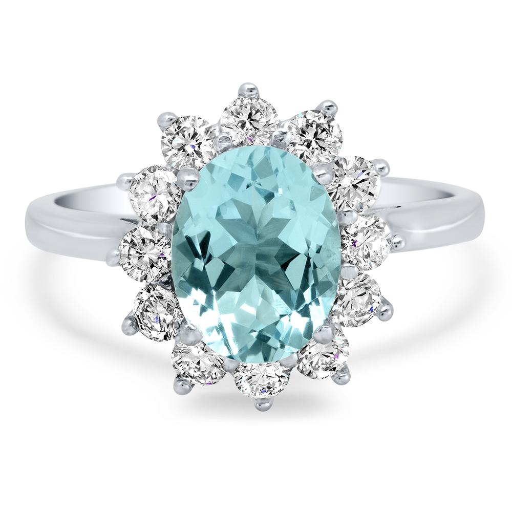 Oval Aquamarine and Diamond Halo Engagement Ring Ready-To-Ship deBebians
