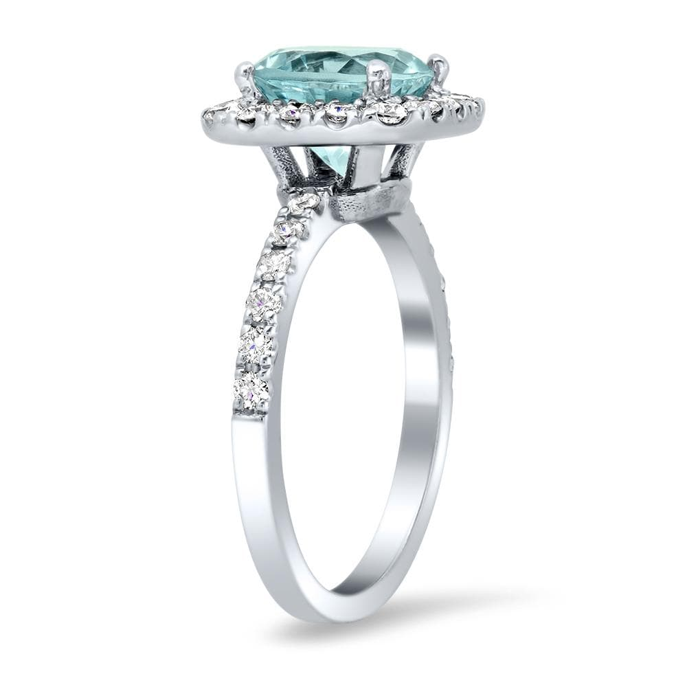 Round Diamond Halo and Aquamarine Engagement Ring Ready-To-Ship deBebians