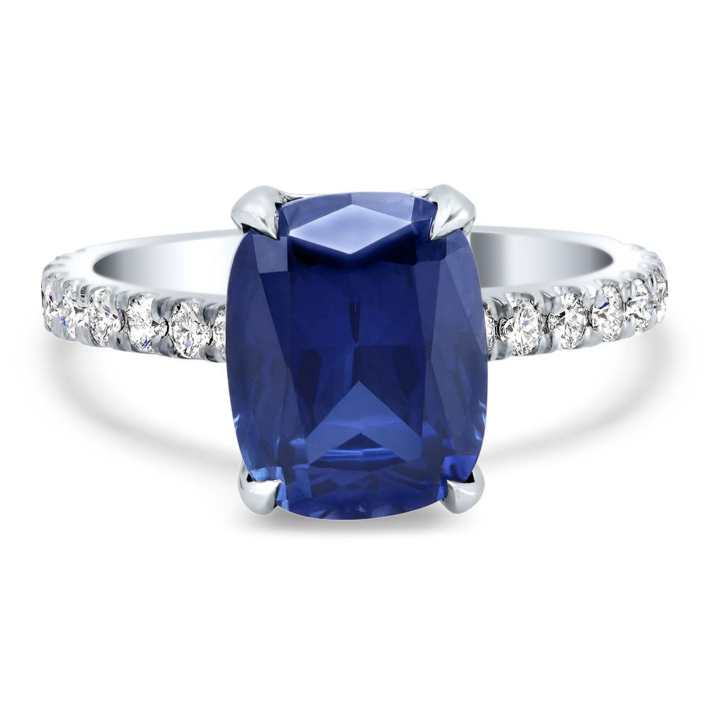 Lab Created Blue Sapphire & Diamond Engagement Ring Ready-To-Ship deBebians