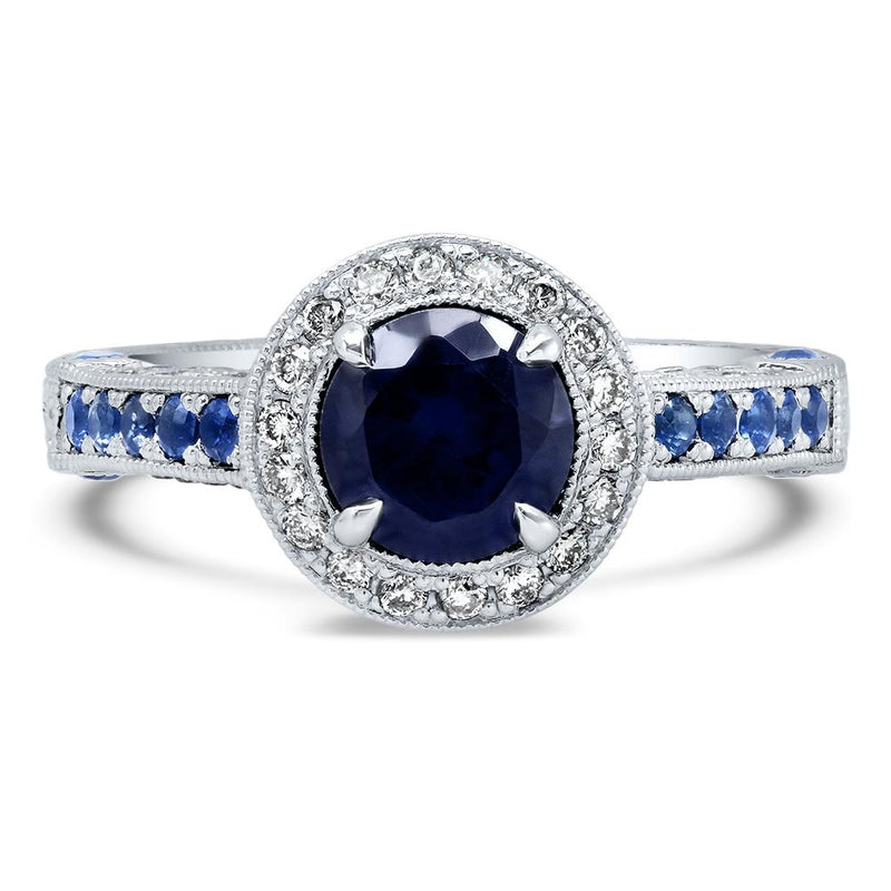 1.50cttw U Prong Blue Sapphire and Diamond Five Stone Band