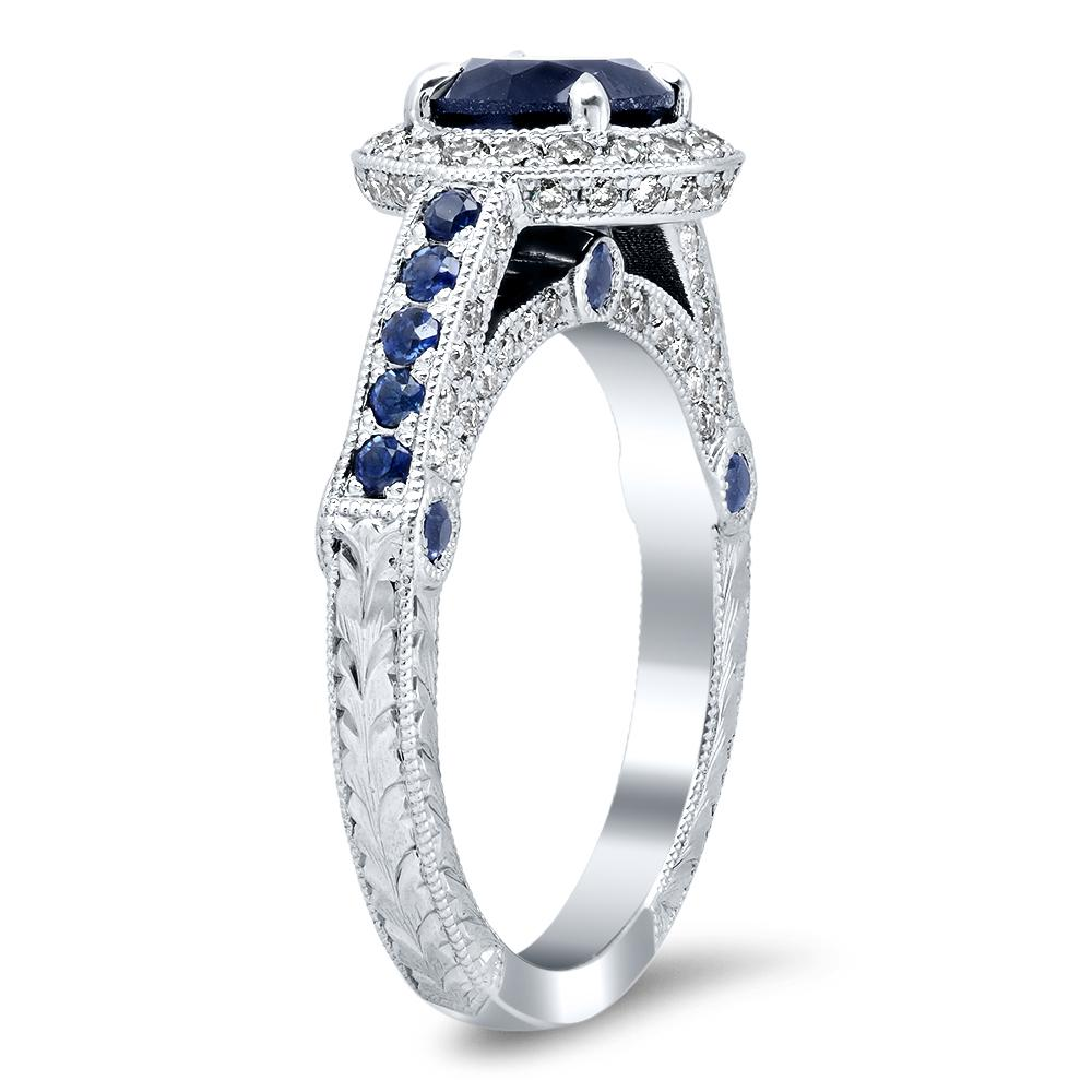 Lab Created Blue Sapphire and Diamond Ring 14kt White Gold Ready-To-Ship deBebians