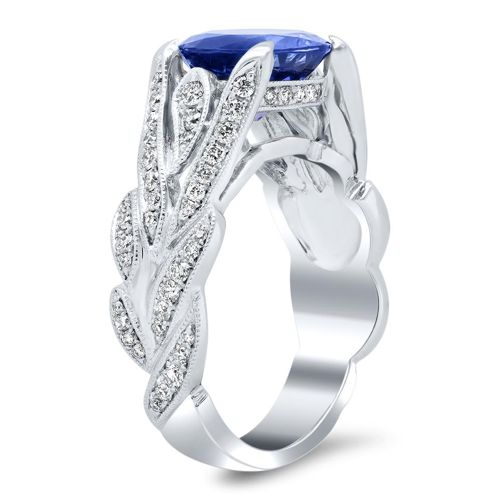 Tanzanite and Diamond Engagement Ring 18kt White Gold Ready-To-Ship deBebians