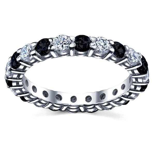 White Diamonds Black Diamonds Eternity Wedding Band Gemstone Eternity Rings deBebians