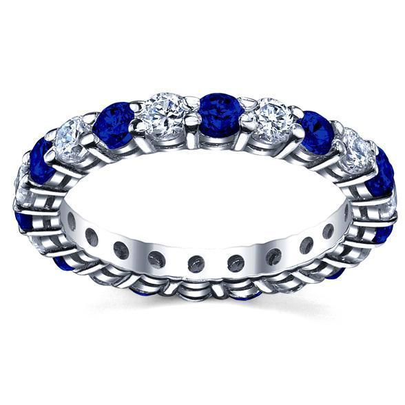 2.00cttw Diamond and Sapphire Eternity Ring Gemstone Eternity Rings deBebians