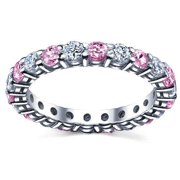 2 Carat Diamond Pink Sapphires Eternity Band Gemstone Eternity Rings deBebians