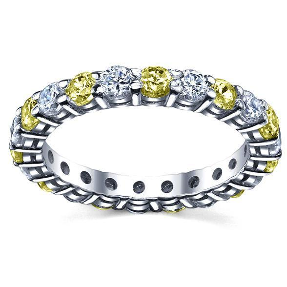 Diamonds and Yellow Sapphire Eternity Wedding Band