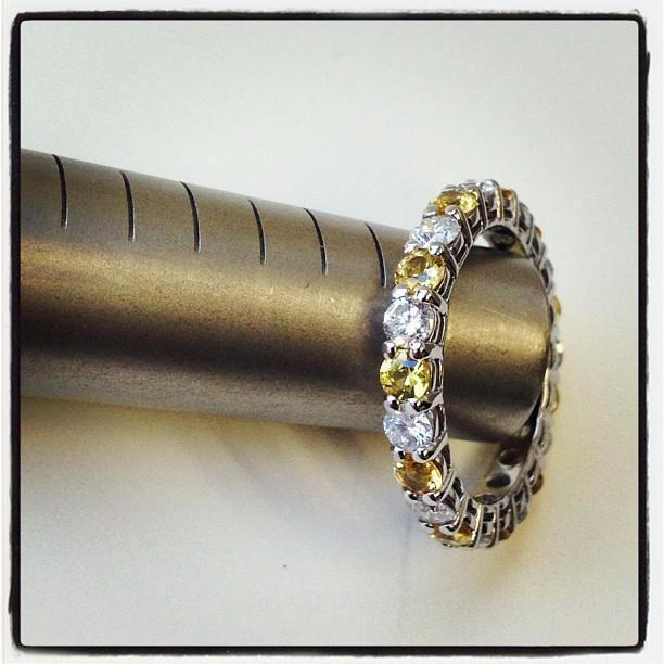 3 Carat Diamonds and Yellow Sapphire Eternity Ring