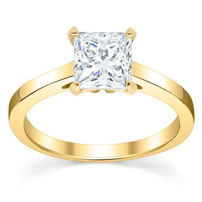 Diamond Solitaire Cathedral Flat Engagement Ring 2.5 mm Solitaire Engagement Rings deBebians