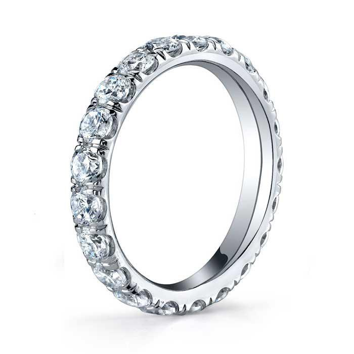 2.5mm Forever One Moissanite U Pave Eternity Ring