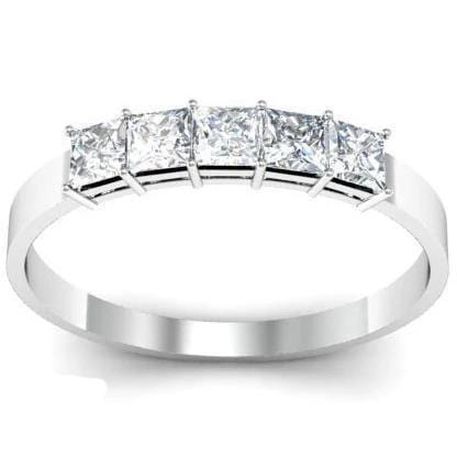 0.50cttw Shared Prong Princess Cut Diamond Five Stone Ring Five Stone Rings deBebians