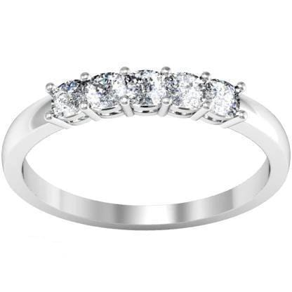 0.50cttw Shared Prong Cushion Cut Diamond Five Stone Ring Five Stone Rings deBebians