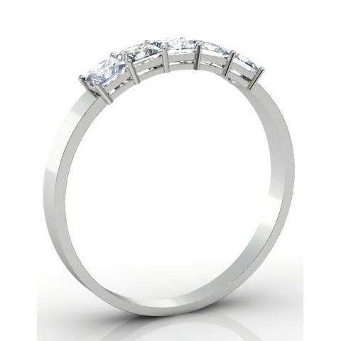0.50cttw Shared Prong Radiant Cut Diamond Five Stone Ring Five Stone Rings deBebians