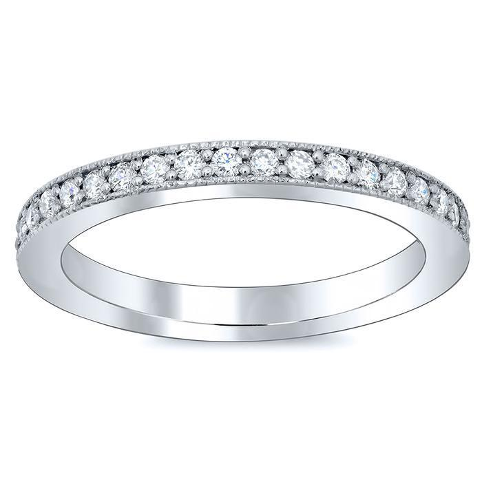 Single Row Pave Set Milgrain Diamond Eternity Band - 0.50 carat - SI Clarity Diamond Eternity Rings deBebians