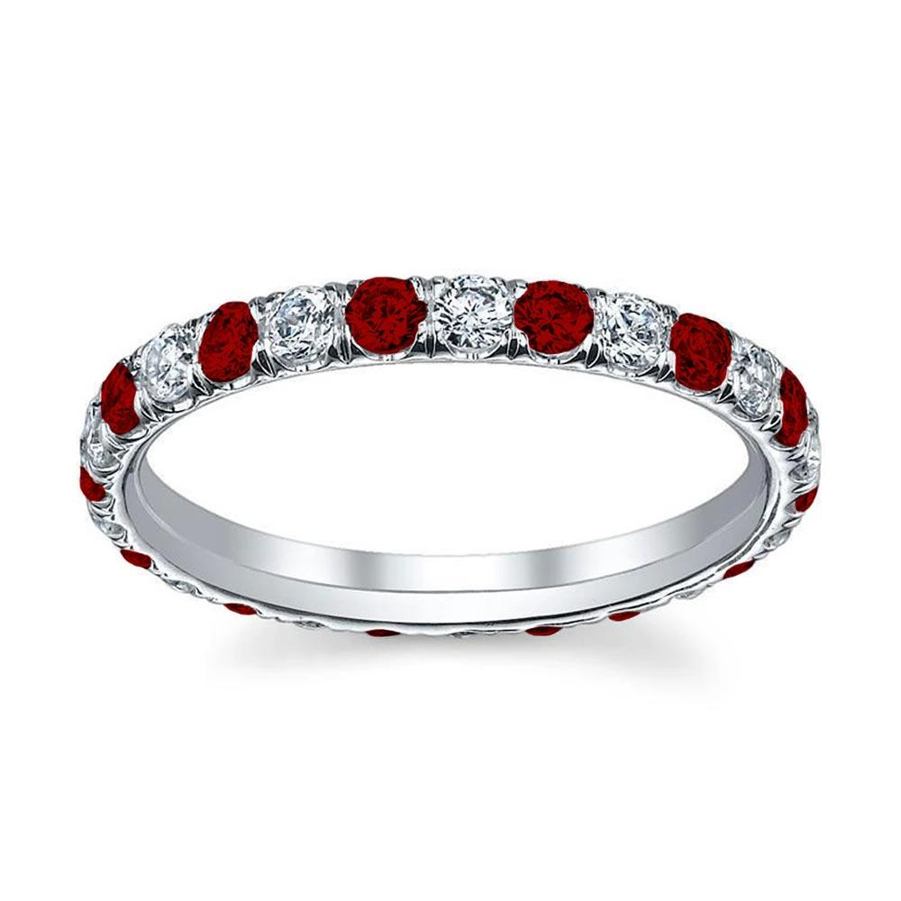 Ruby and Diamond Eternity Band with U-Pave Setting Gemstone Eternity Rings deBebians