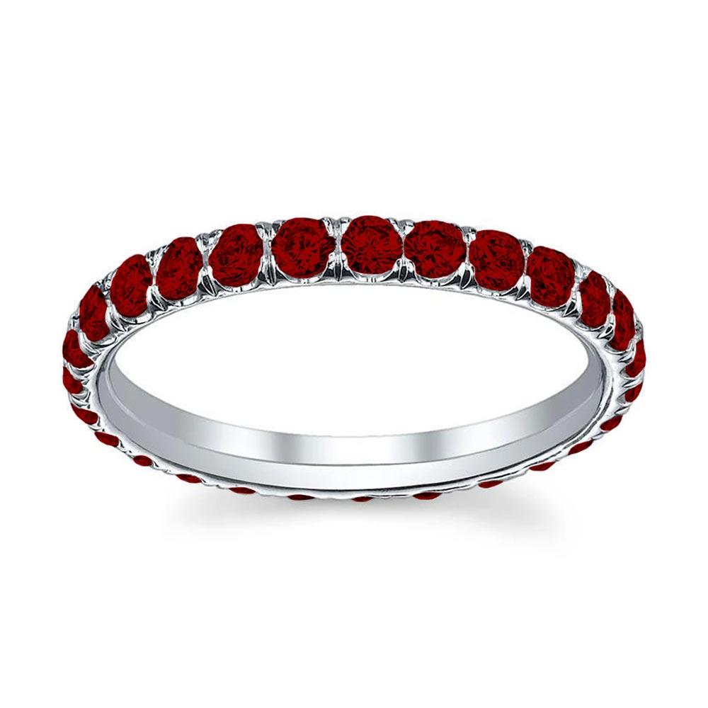 Eternity Ring with U-Pave Set Rubies Gemstone Eternity Rings deBebians