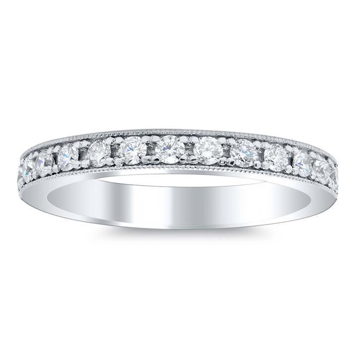 Milgrain Half Round Diamond Eternity Rings