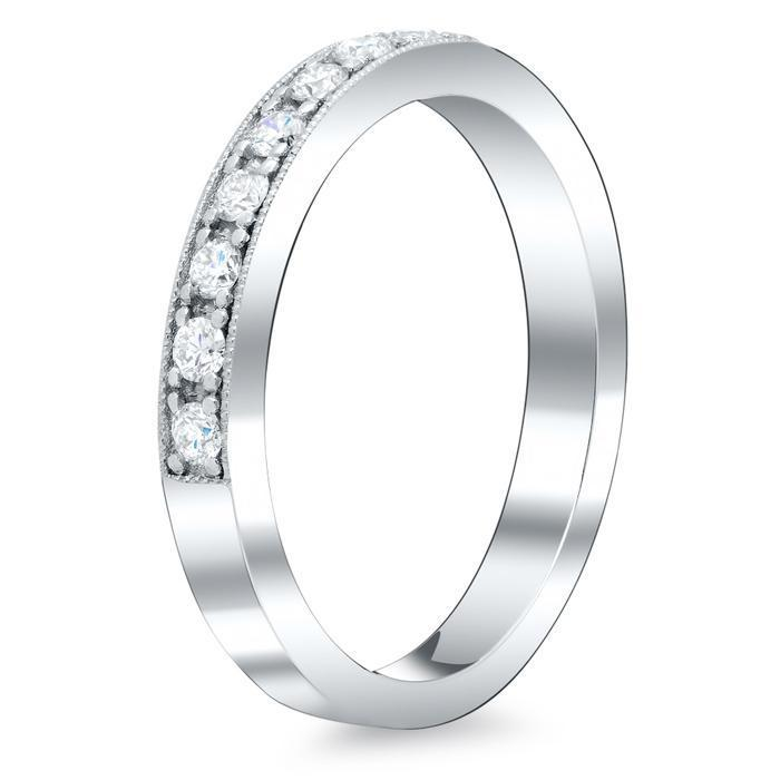 Eternity Ring Pave Half Round Milgrain Setting Half Eternity Rings deBebians