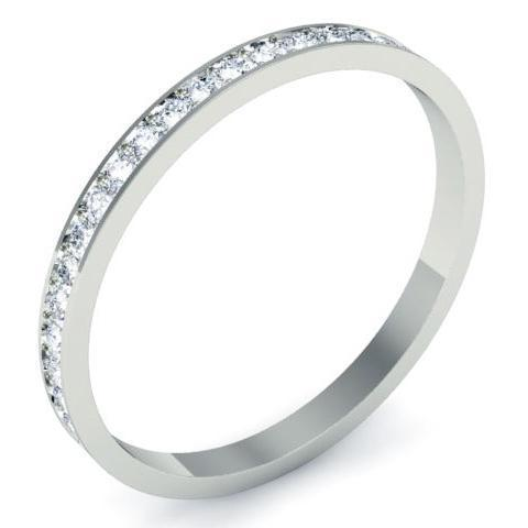 Single Row Pave Set Diamond Eternity Band - 0.50 carat - SI Clarity Diamond Eternity Rings deBebians