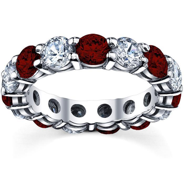 2nd Anniversary Eternity Band with Garnet and Diamond Gemstone Eternity Rings deBebians