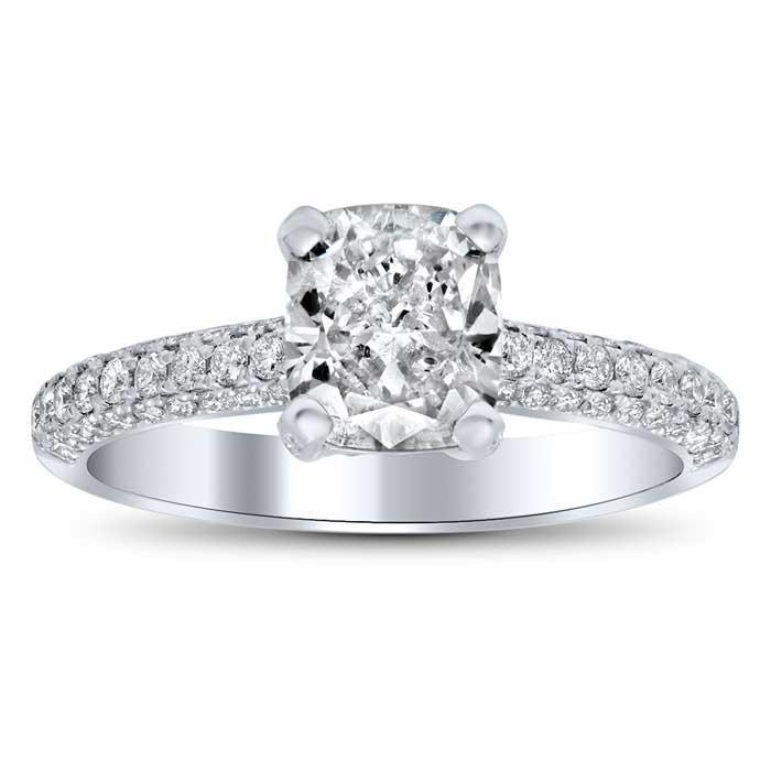 4 Sided Pave Engagement Ring with Pave Basket