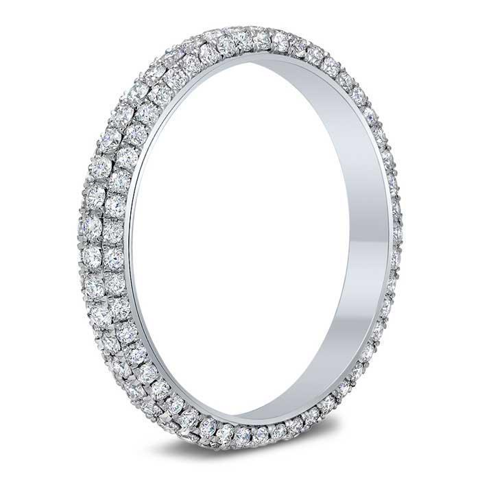 Three Row Pave Set Diamond Eternity Band - 1.00 cttw Diamond Eternity Rings deBebians