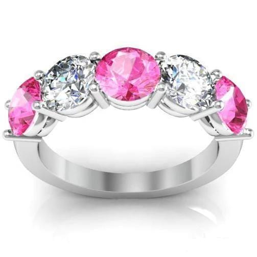 3.00cttw Shared Prong Pink Sapphire and Diamond 5 Stone Ring Five Stone Rings deBebians