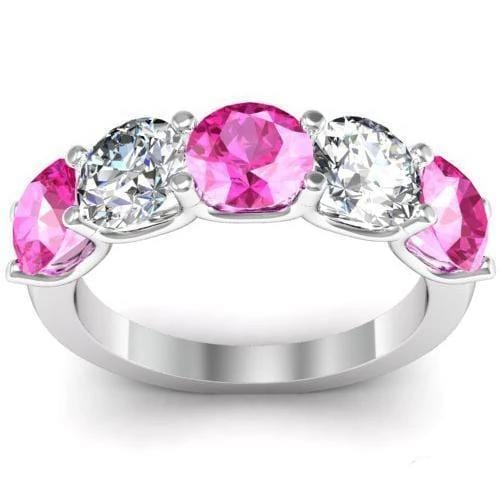3.00cttw U Prong Pink Sapphire and Diamond 5 Stone Band Five Stone Rings deBebians