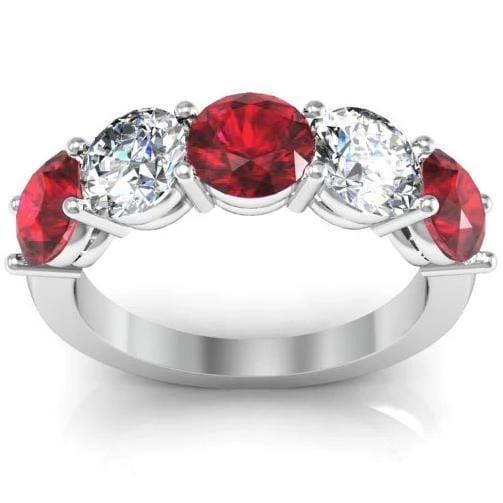 3.00cttw Shared Prong Ruby and Diamond 5 Stone Ring Five Stone Rings deBebians