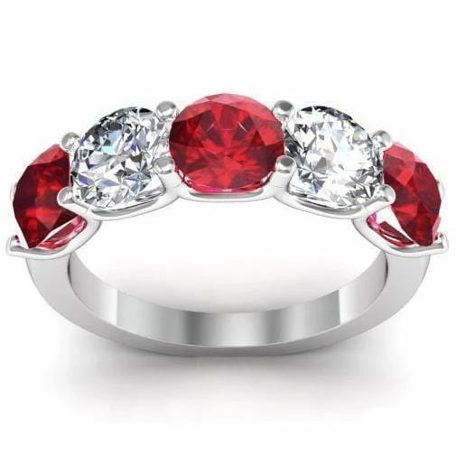 3.00cttw U Prong Ruby and Diamond 5 Stone Band Five Stone Rings deBebians