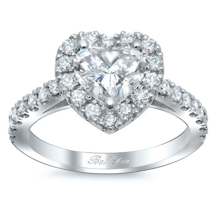 Charles & Colvard Heart Moissanite Halo Engagement Ring Moissanite Engagement Rings deBebians