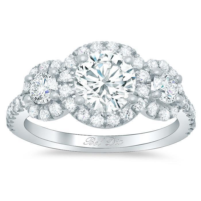 Round Halo Three Stone Ring Halo Engagement Rings deBebians