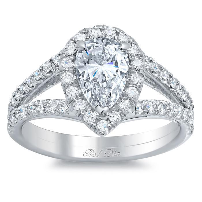 Split Shank Pear Shaped Engagement Ring Halo Engagement Rings deBebians