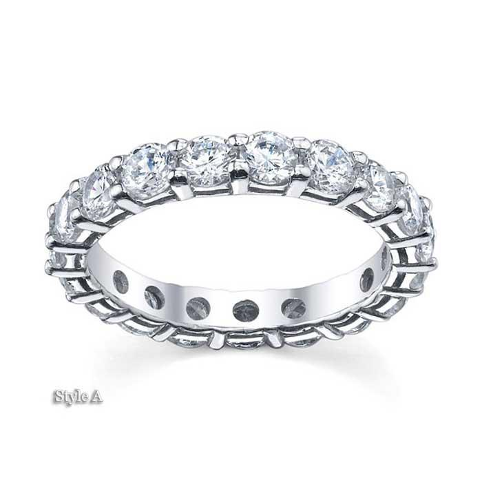 3.5mm Forever One Moissanite Round Eternity Ring Moissanite Wedding Rings deBebians