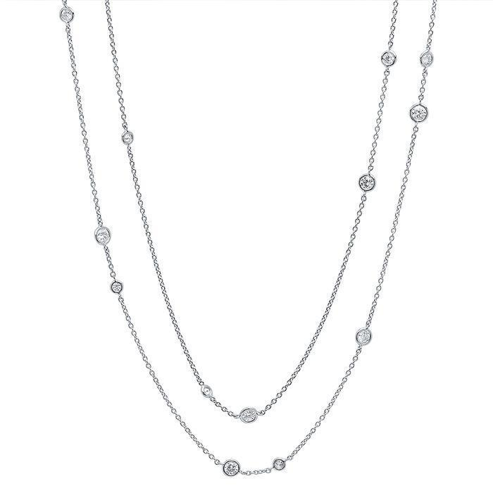 "36"" Diamond Bezel Necklace, 1.05cttw Diamond Station Necklaces deBebians"