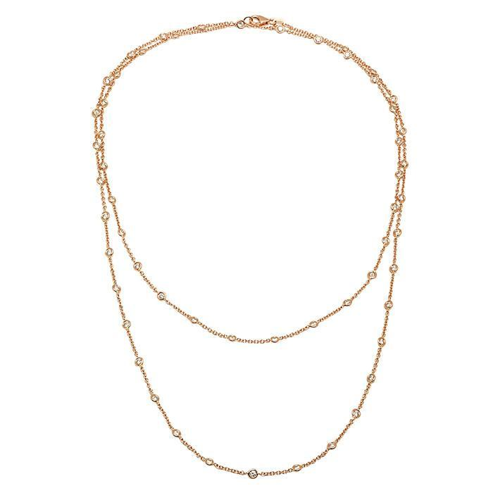 "36"" Handmade Rose Gold Diamond Rolo Necklace Diamond Station Necklaces deBebians"