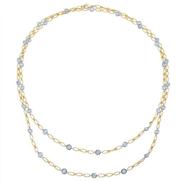 "36"" Yellow and White Gold Handmade Diamond Necklace Diamond Station Necklaces deBebians"