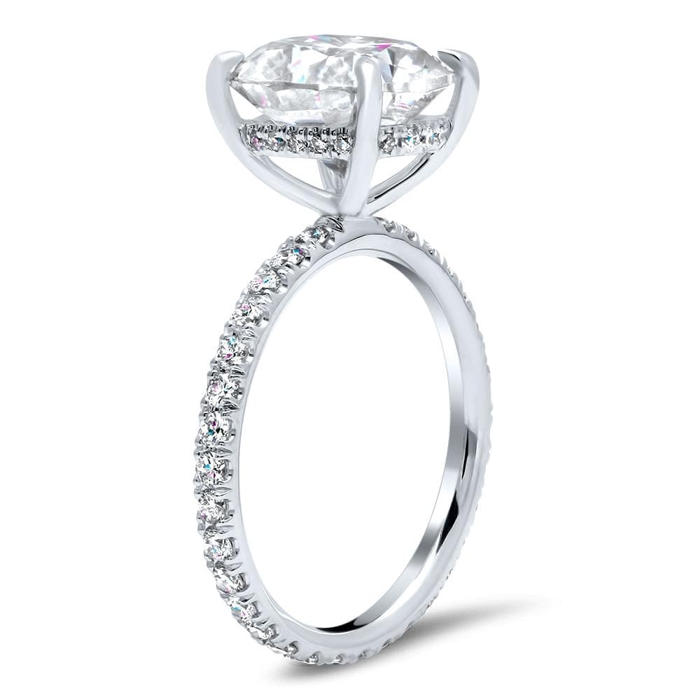 Thin Pave Eternity Engagement Ring Setting Flush Set Design
