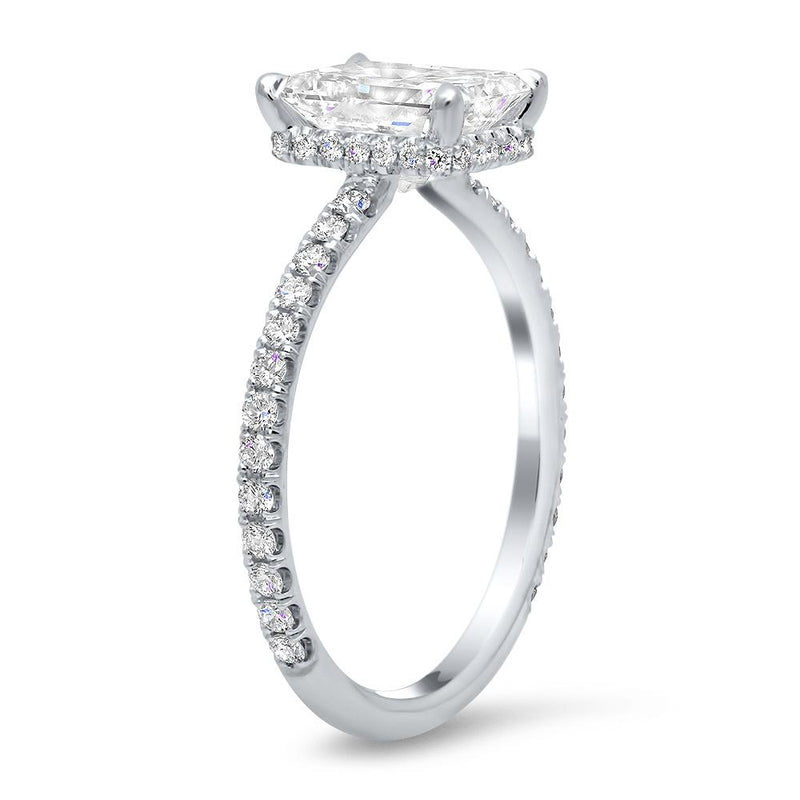 Pave Hidden Basket Diamond Accented Delicate Engagement Ring Diamond Accented Engagement Rings deBebians