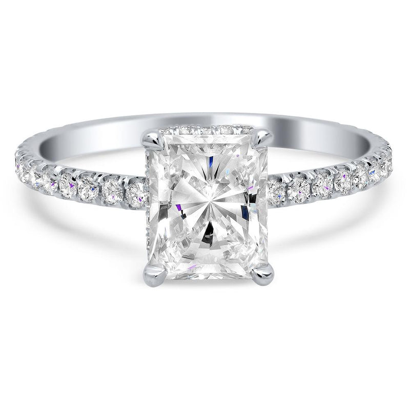 Oval Diamond Engagement Ring with Domed Pave Band