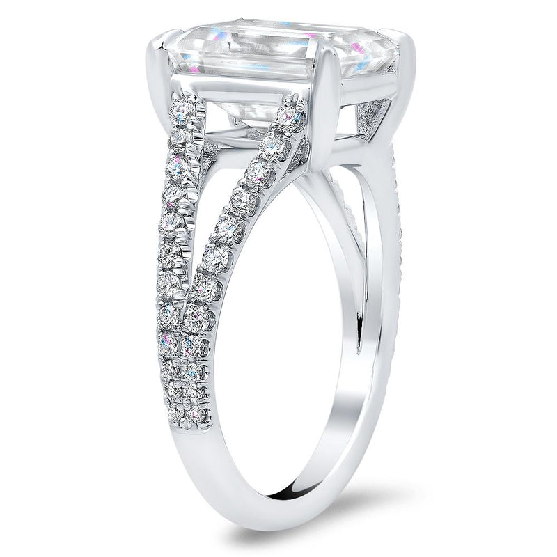 Pave Diamond Split Shank Engagement Ring Diamond Accented Engagement Rings deBebians