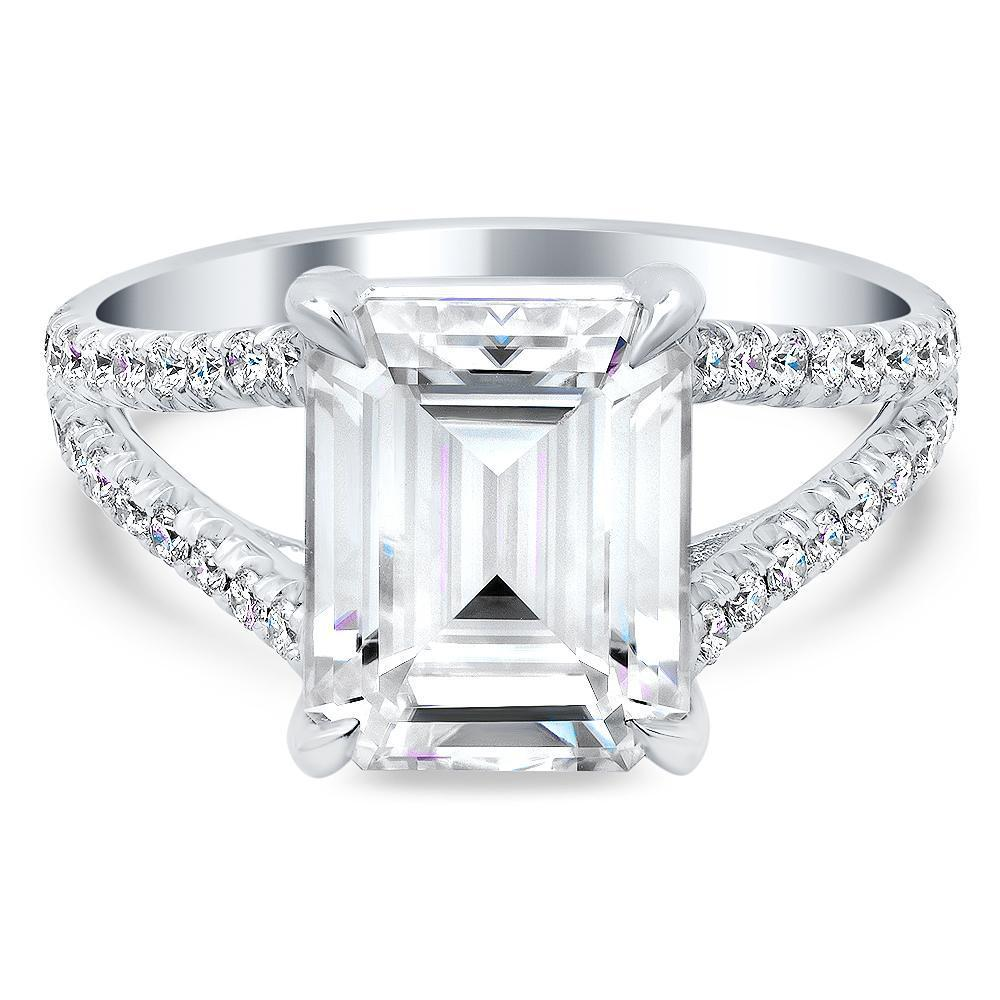 Emerald Cut Split Shank Moissanite Engagement Ring Moissanite Engagement Rings deBebians