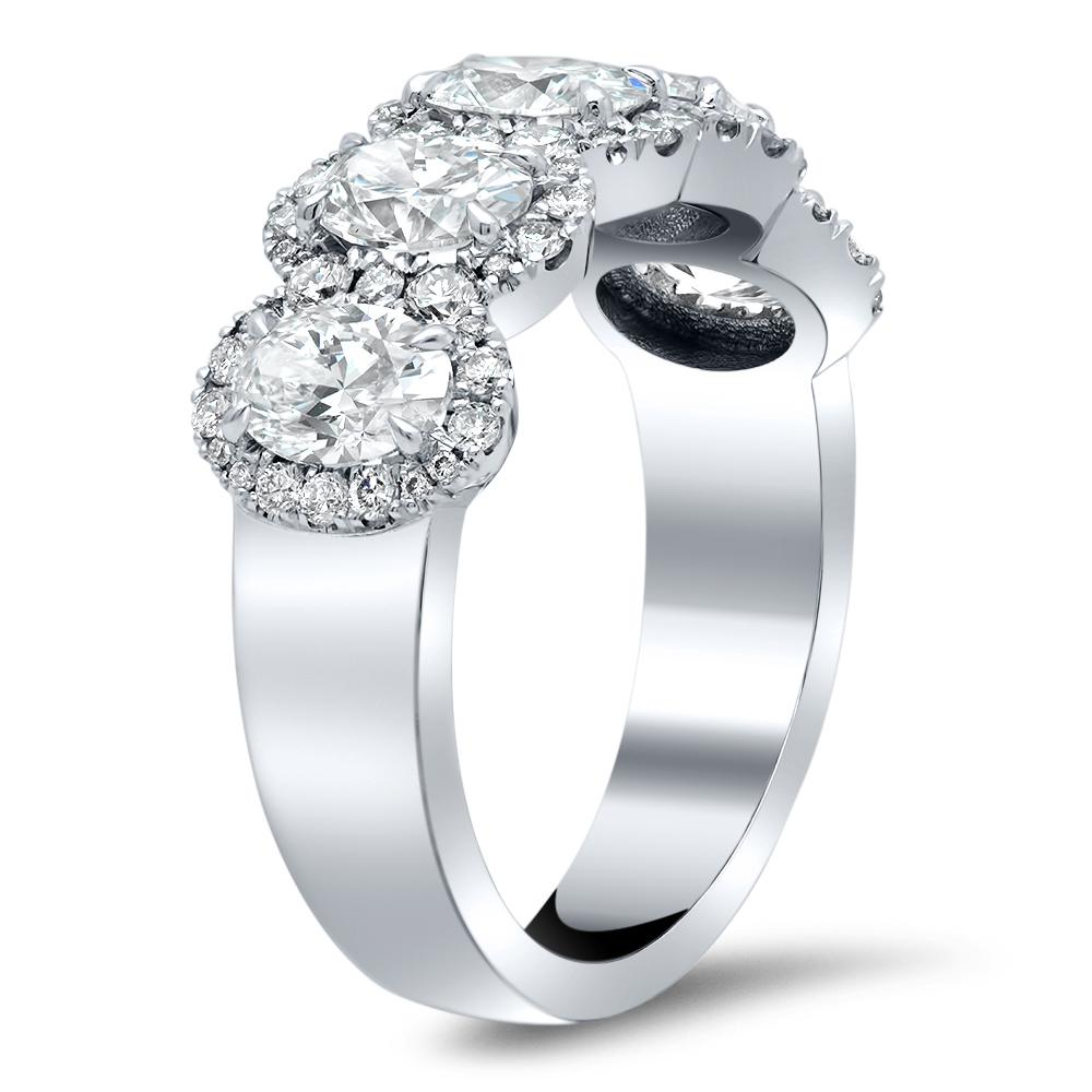 2.00cttw Oval Diamond Halo Five Stone Ring Five Stone Rings deBebians