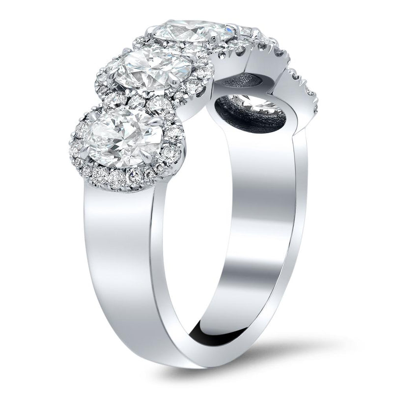 5 Stone Oval Halo Diamond Ring